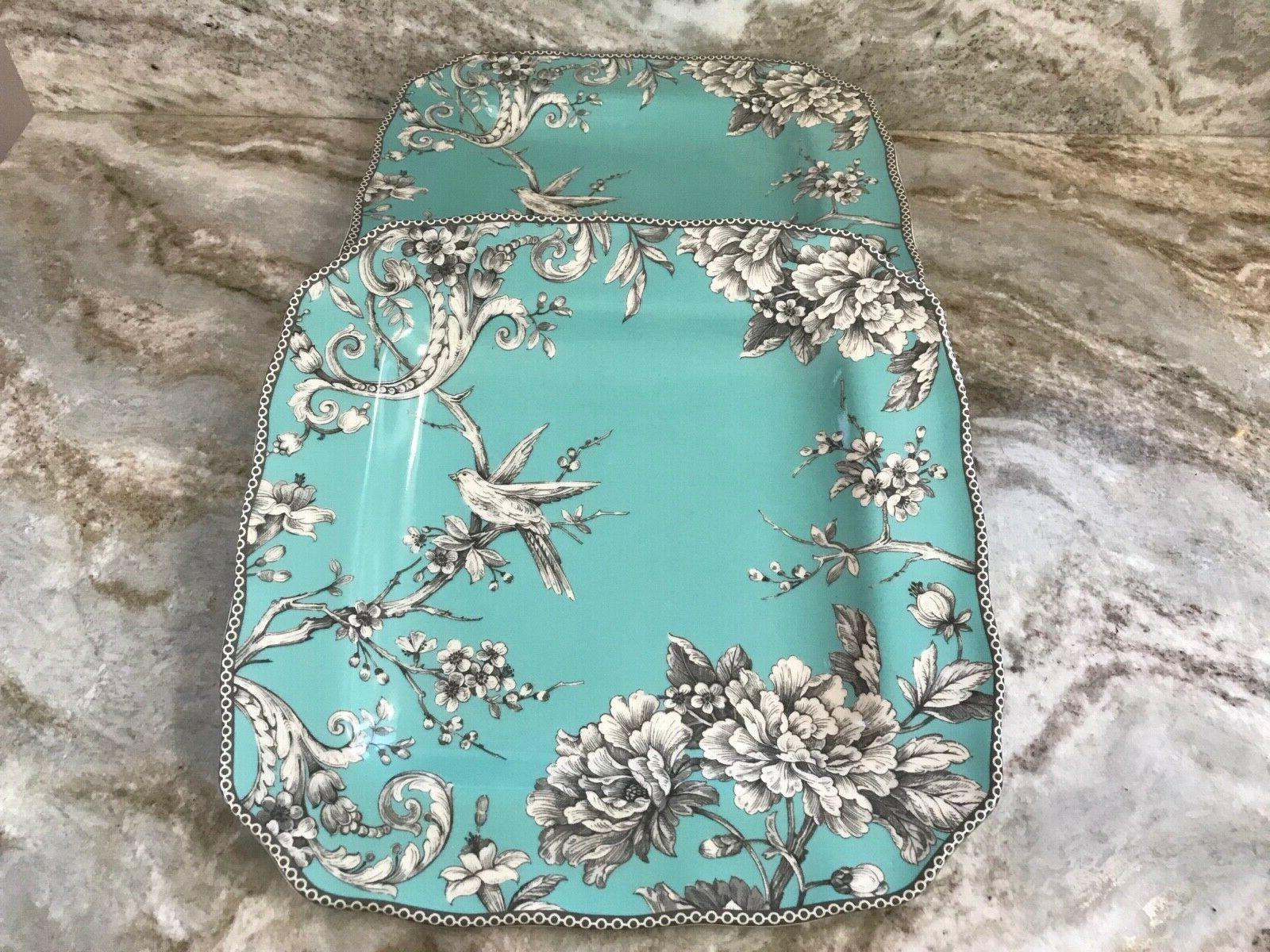 Adelaide Turquoise Square Plates 222 Set Of New.