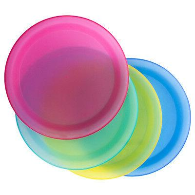4 Pc Colorful Reusable Party Fee Plastic Plates