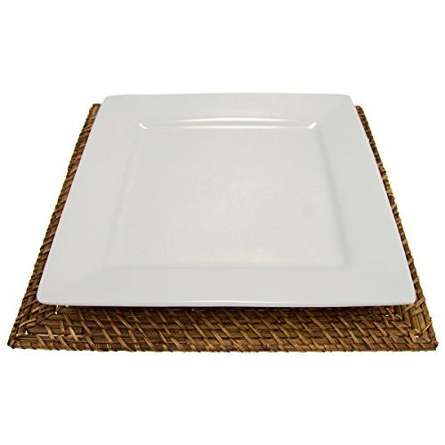 6 Rattan Square Plates By Malacca Dinner Servers