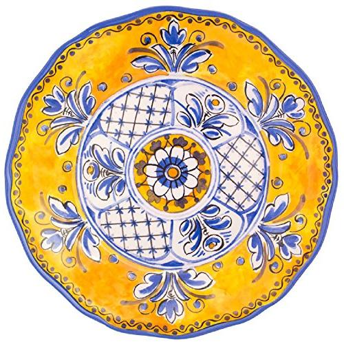 Le Cadeaux 11 in. Benidorm Yellow Dinner Plate, New, Free Sh