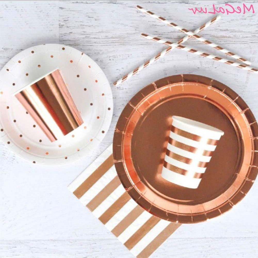 birthday party tableware rose gold theme cups