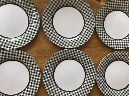 Black And White Checked Plates OF TWELVE