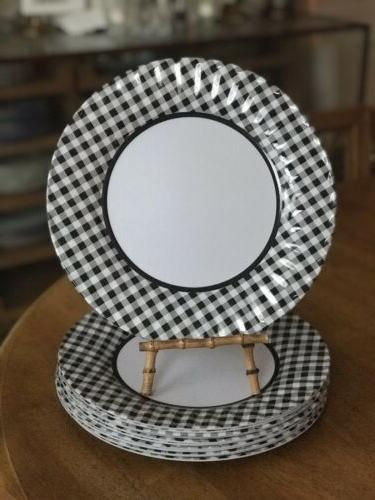 black and gingham checked dinner plates set