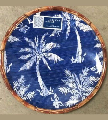blue and white palm trees bamboo melamine