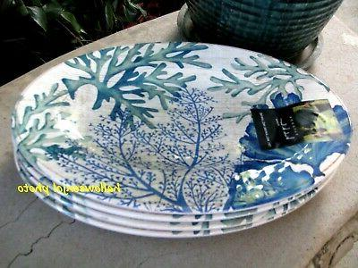blue coral green beach dinner plates melamine