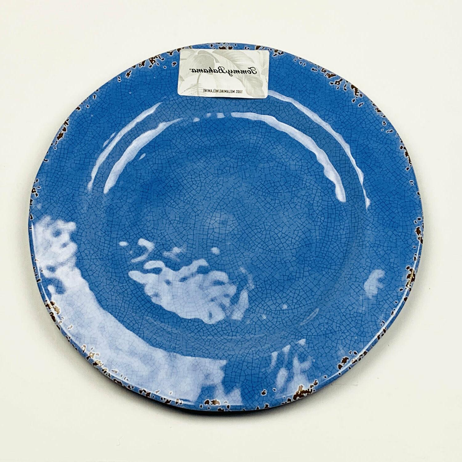 blue rustic crackled melamine dinner plates set
