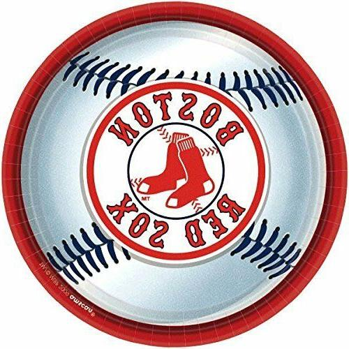 """Amscan Boston Red Sox Round Dinner Plates, 9"""" New"""