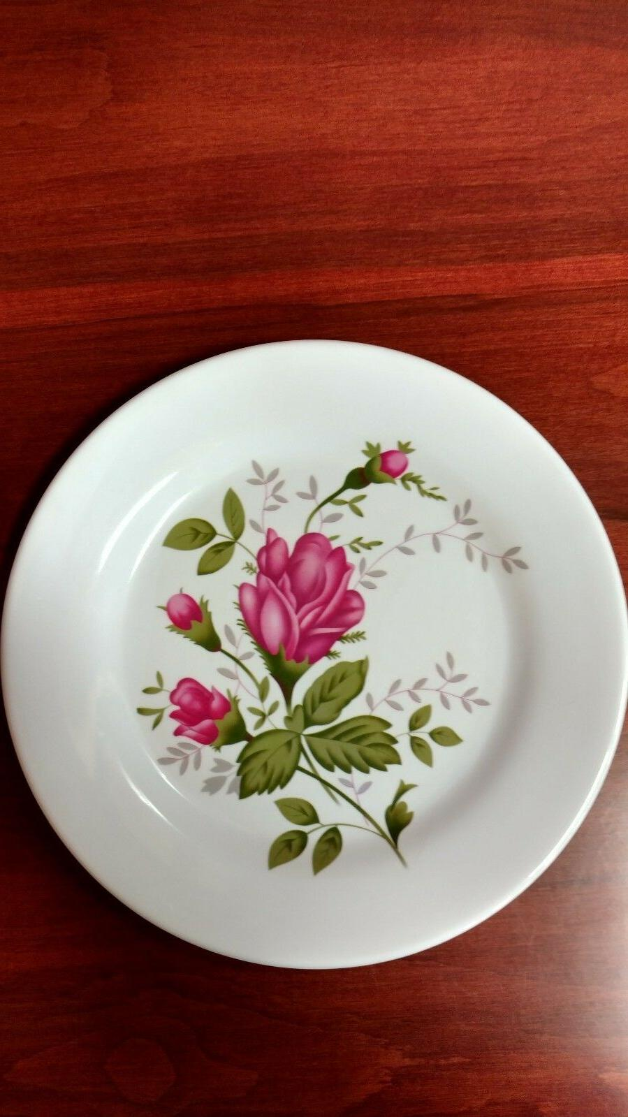 brand new melamine dinner plates with rose