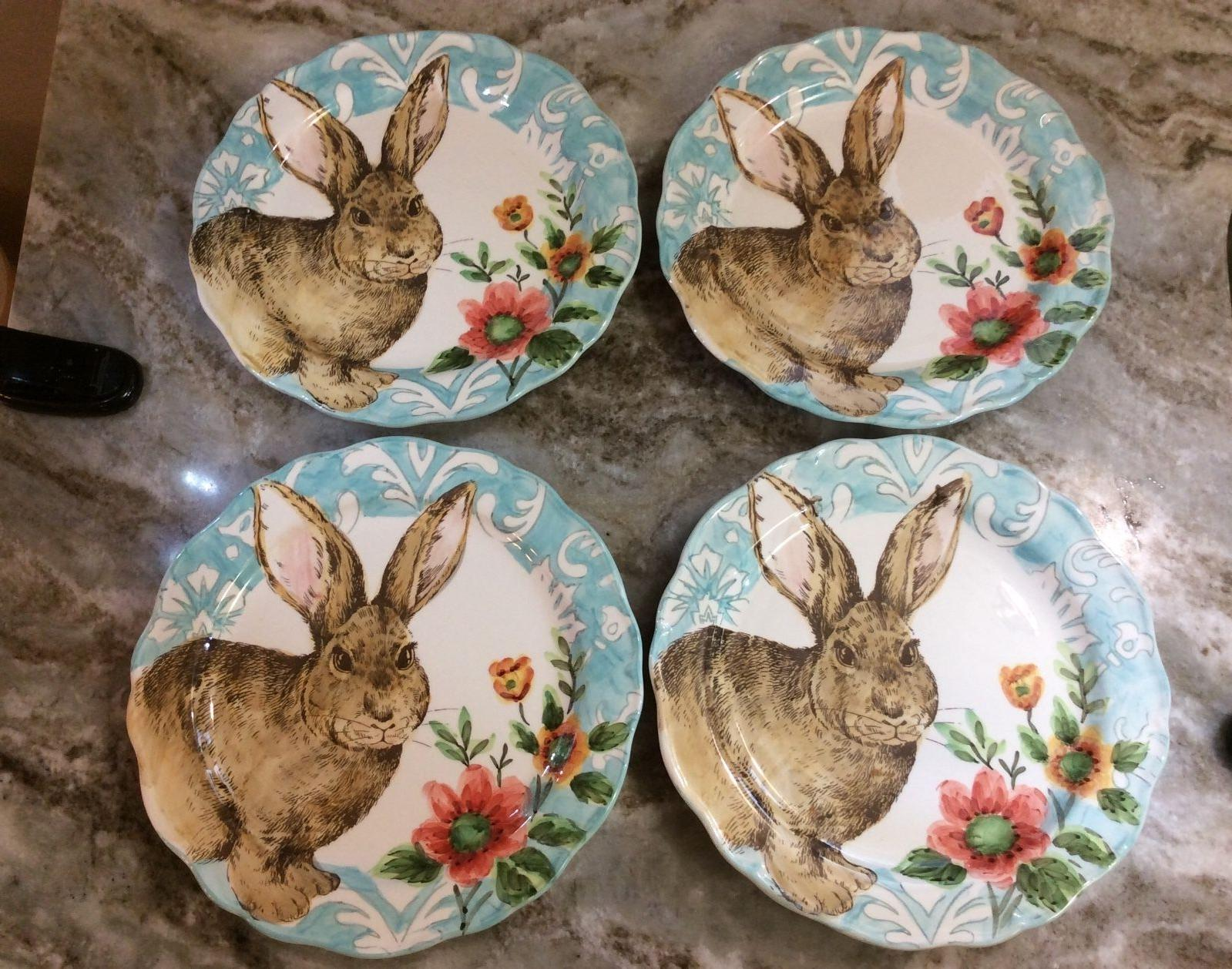 Cottontail Lane Bunny Dinner Plates With Scalloped Set 4.