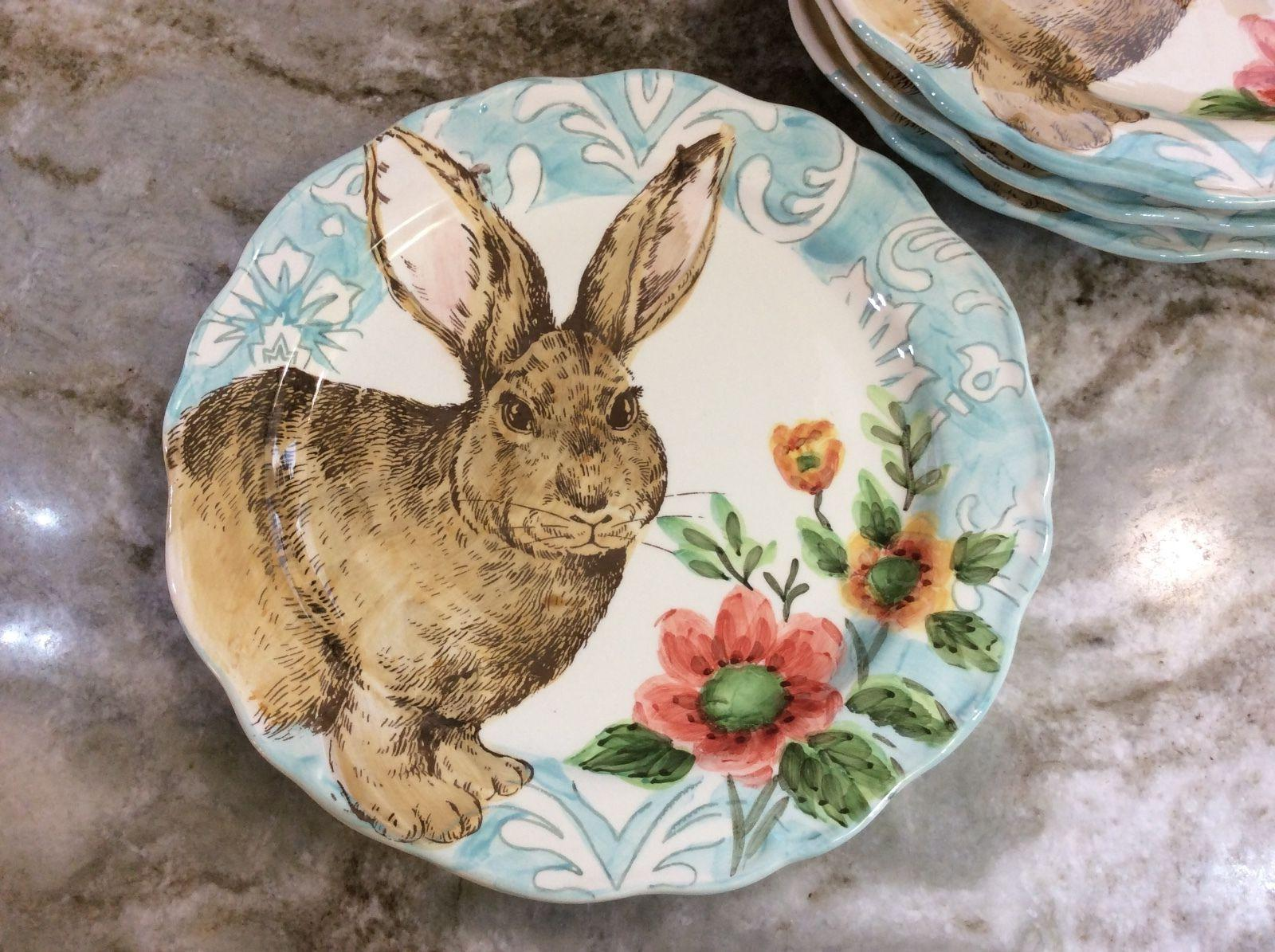 bunny dinner plates with scalloped edges set