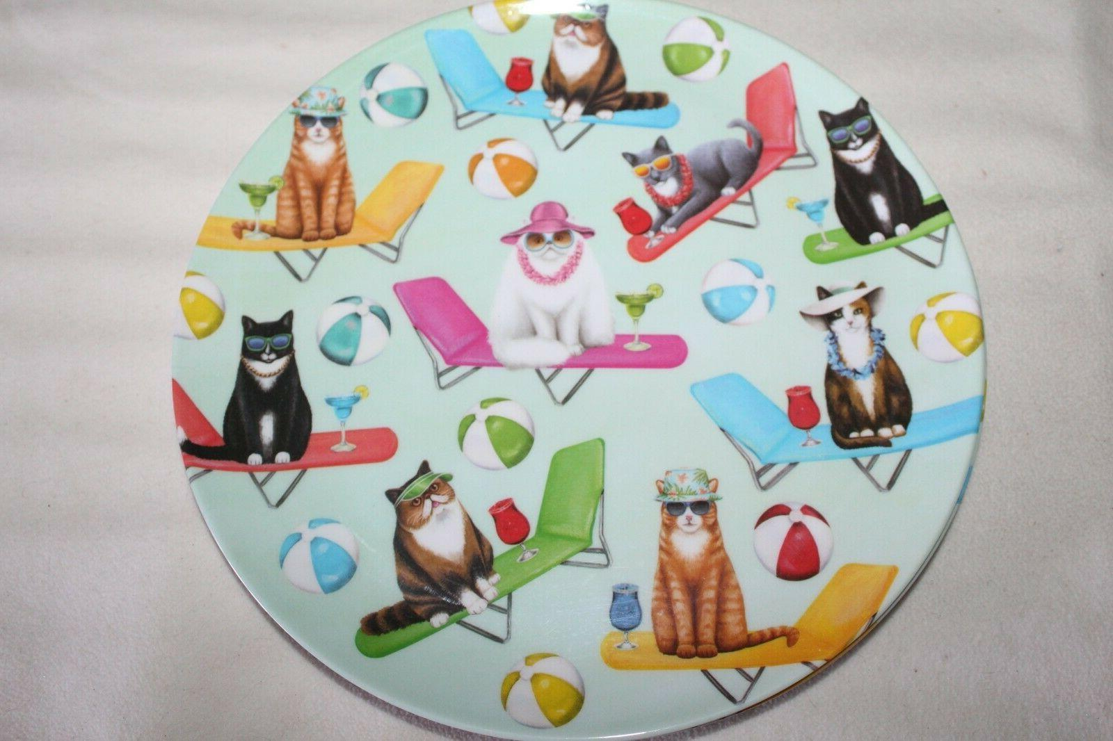Cats of Summer Lounge Chairs DINNER PLATES Set 10.5""