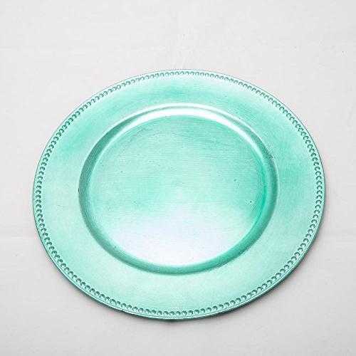charger plate beaded round aqua
