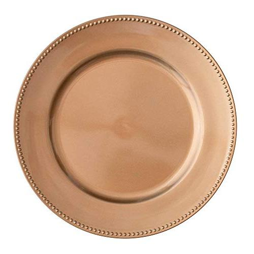 charger plate round beaded rose