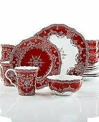 222 Fifth Christmas Winter Lace Red White Dinner Plates Set