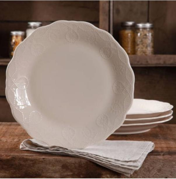 The Pioneer Woman Cowgirl Lace Transparent Glaze 4-Pack Dinn