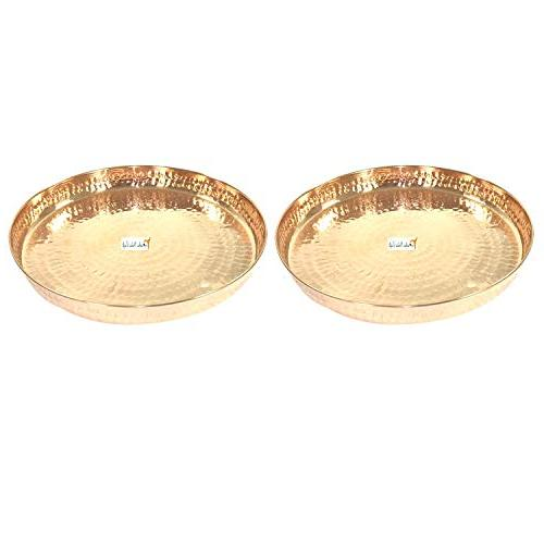 Set of India Craft Copper Dinner DIAMETER Kitchen Special Thali Decorative Ware - CHRISTMAS GIFTS