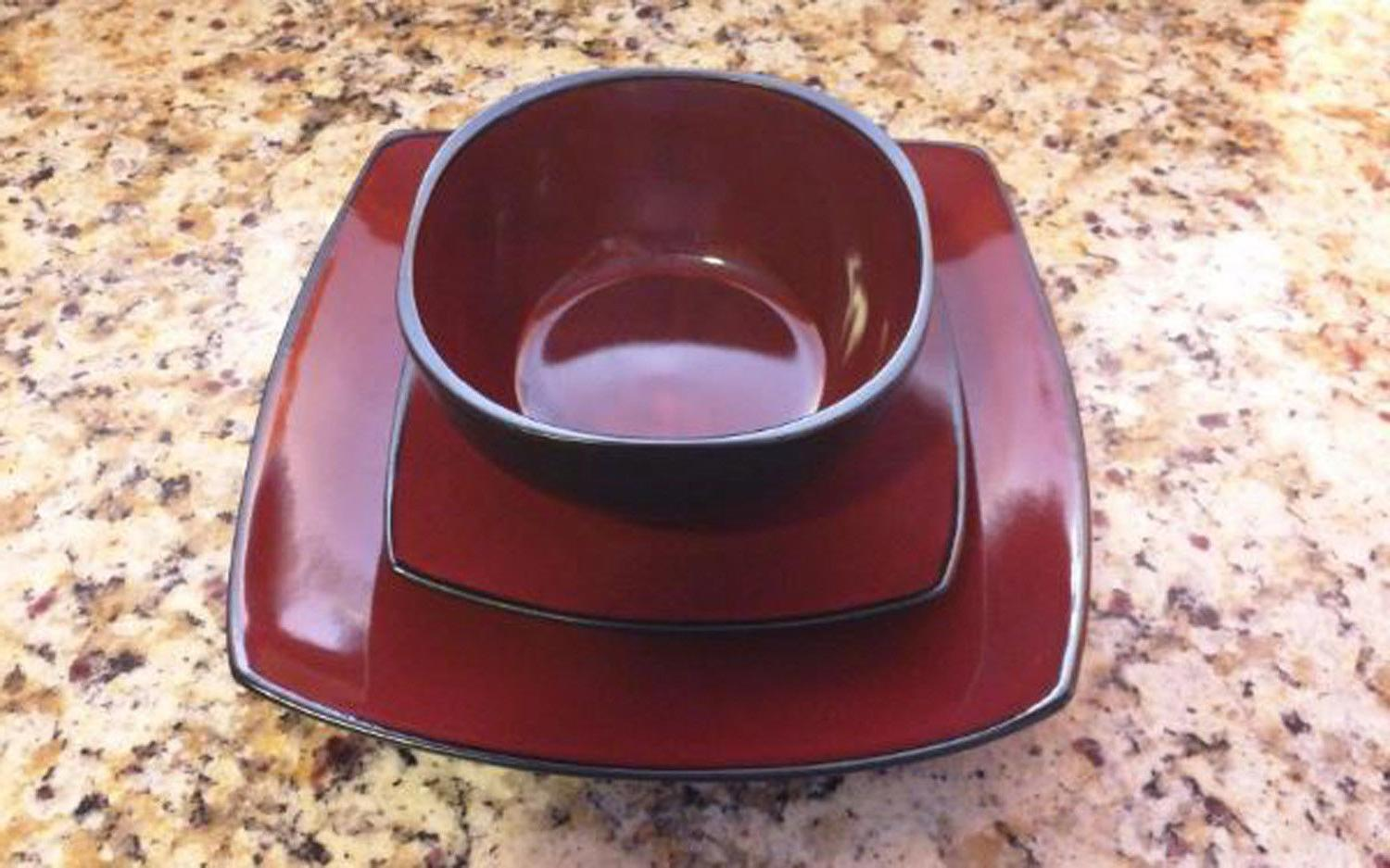 Dinnerware Plates Home Kitchen Red