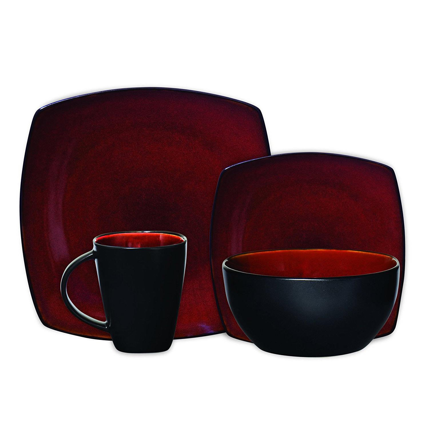 Dinnerware Set Square Plates Mugs Home Kitchen 16 Pcs Red
