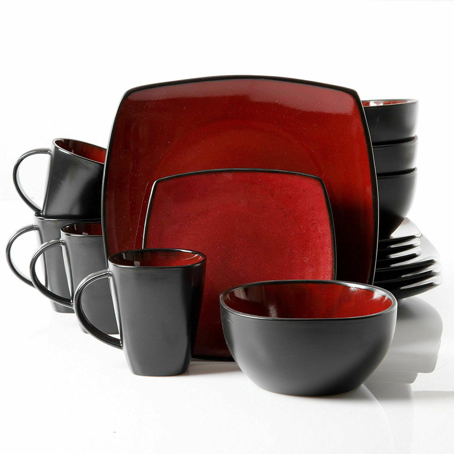 Dinnerware Set Square Dinner Plates Mugs Dishes Bowls Home K