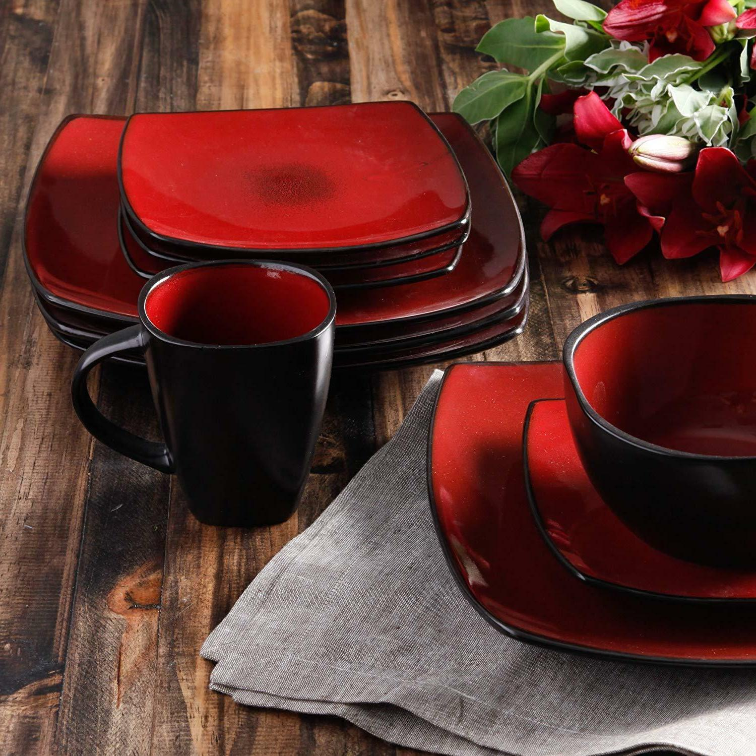 Dinnerware Set Square Plates Dishes For Home 16 Pieces