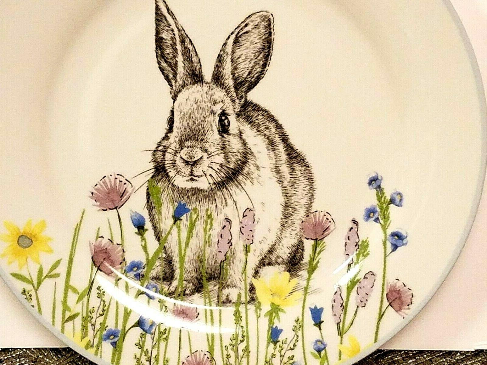 easter bunny rabbit floral dinner plates by