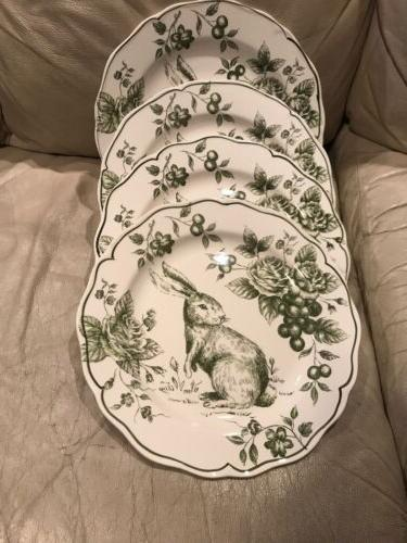 easter green bunny rabbit floral toile holiday