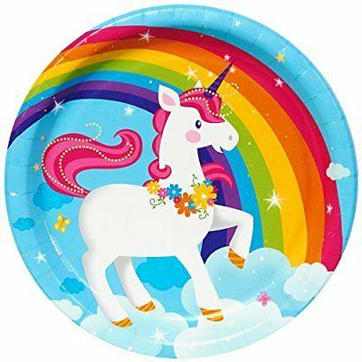 BirthdayExpress Fairytale Unicorn Party Supplies - Dinner Pl