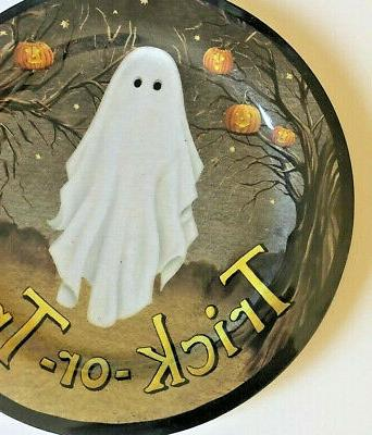 Ghost Plates of 4 Halloween Trick Or Treat Pumpkins