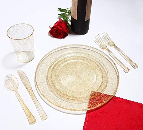 102 Pieces Plastic Premiun Disposable Plates, Clear 51 Dinner Inch and 51 Salad/Dessert Plates