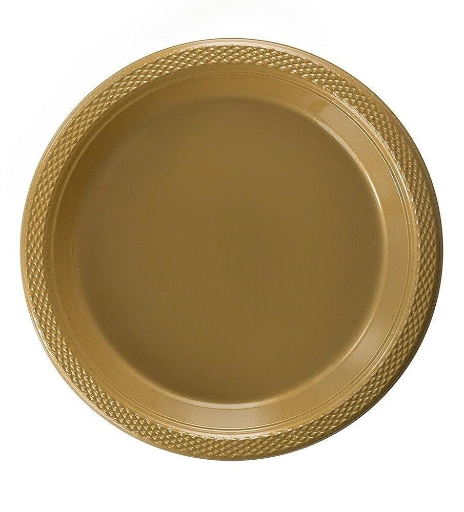 gold plastic disposable plates luncheon dinner party