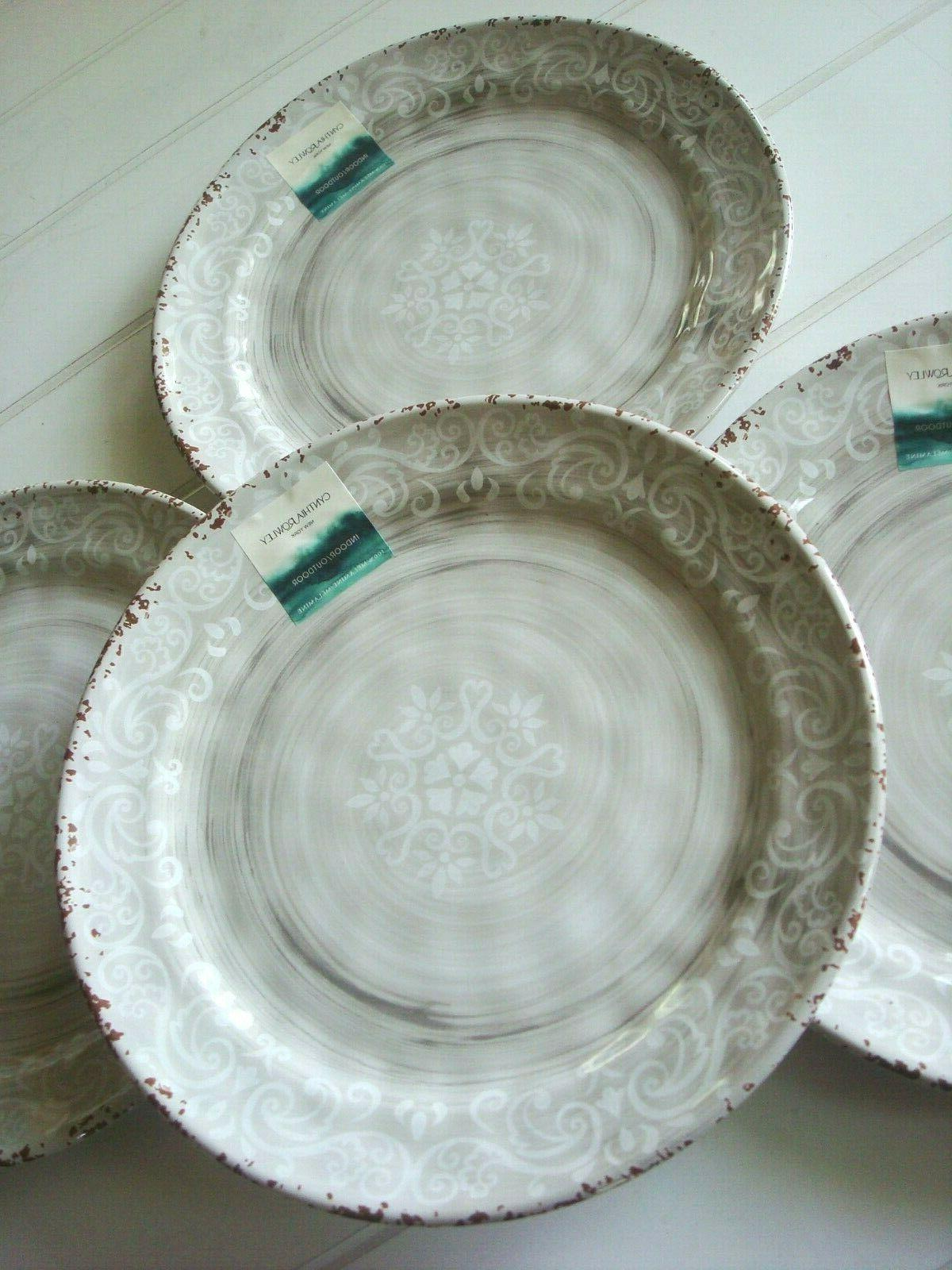 "Cynthia Gray Rustic 11"" Dinner Plates Set of 4"