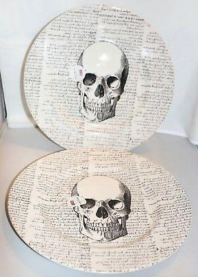 halloween skull script dinner plates set 4