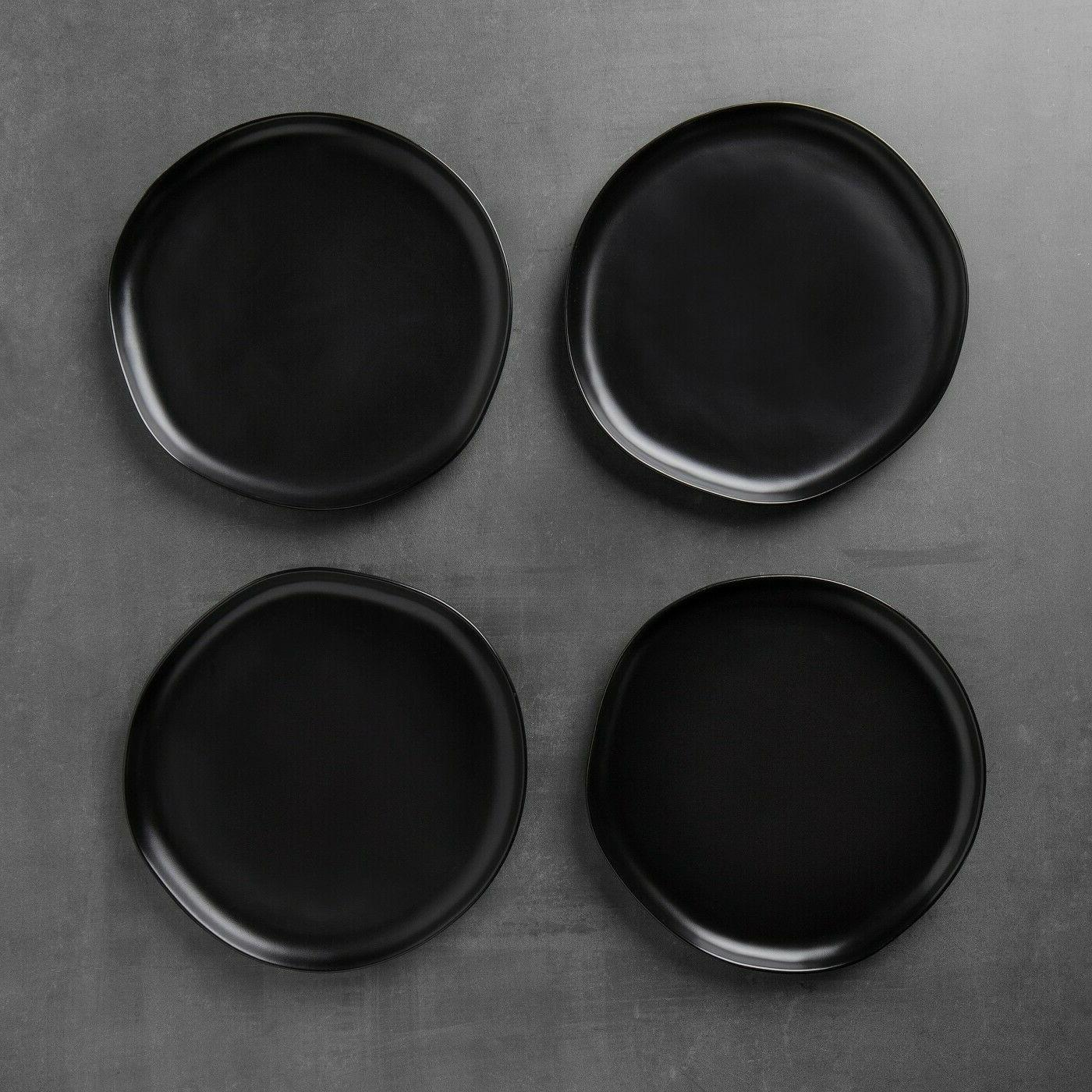 "Hearth Magnolia Black Matte Plates 10""- 2"