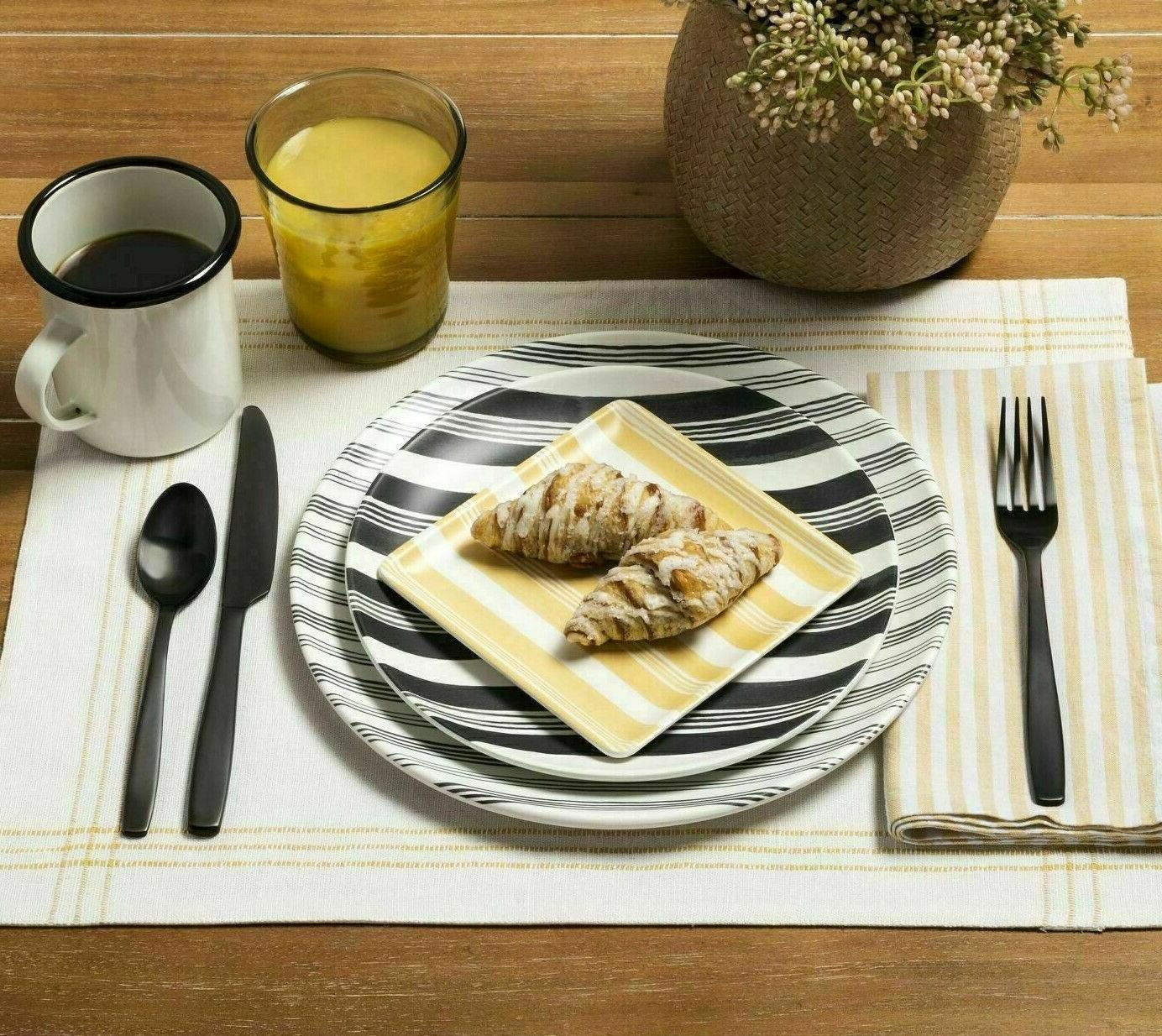 Hearth Gray Stripes Melamine Dinner Plates SOLD