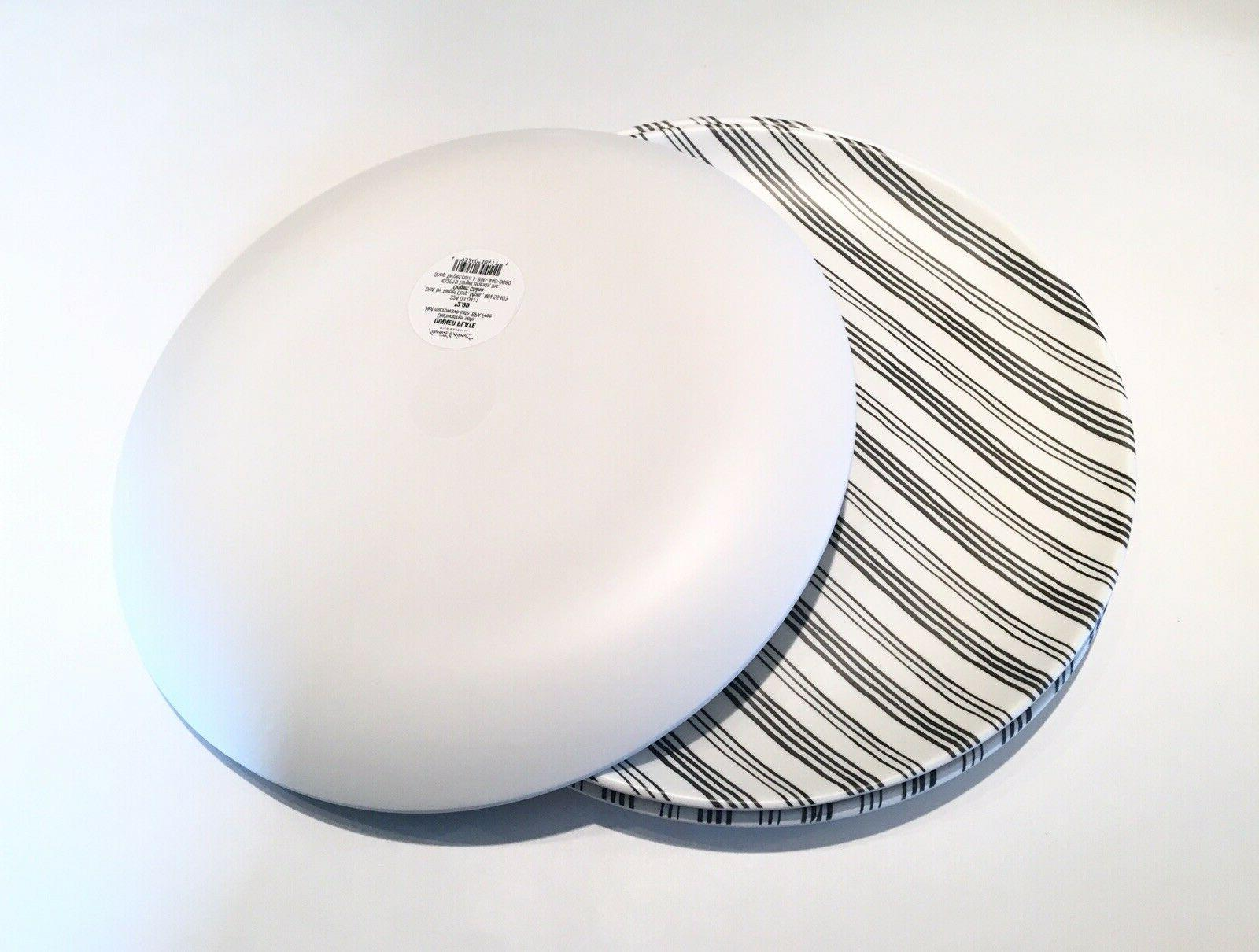 Hearth Magnolia Gray Stripes Melamine Dinner Plates