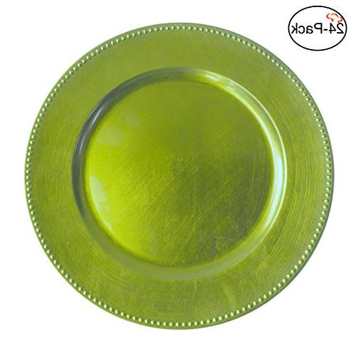 lime round beaded charger plates
