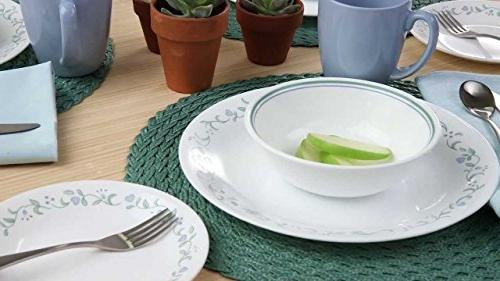 Corelle Cottage with Service Chip and Glass, is Oven and Safe, Bold and Scratch Resistant, with Easy