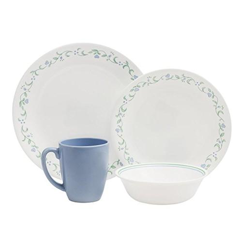 Corelle Livingware Cottage with Service for Chip and Resistant Glass, and with Bold Patterns, Scratch with Stackable Easy
