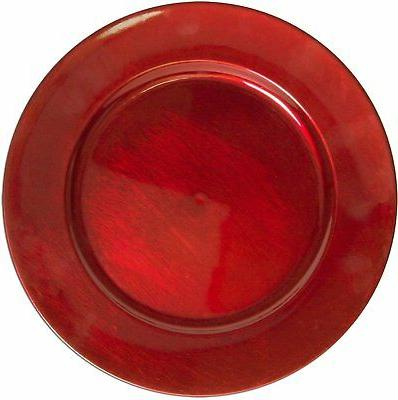 luxurious round charger dinner plates burgundy red