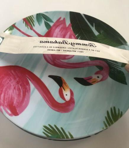 Tommy Bahama Dinner Plates Pink Palm Tropical 4