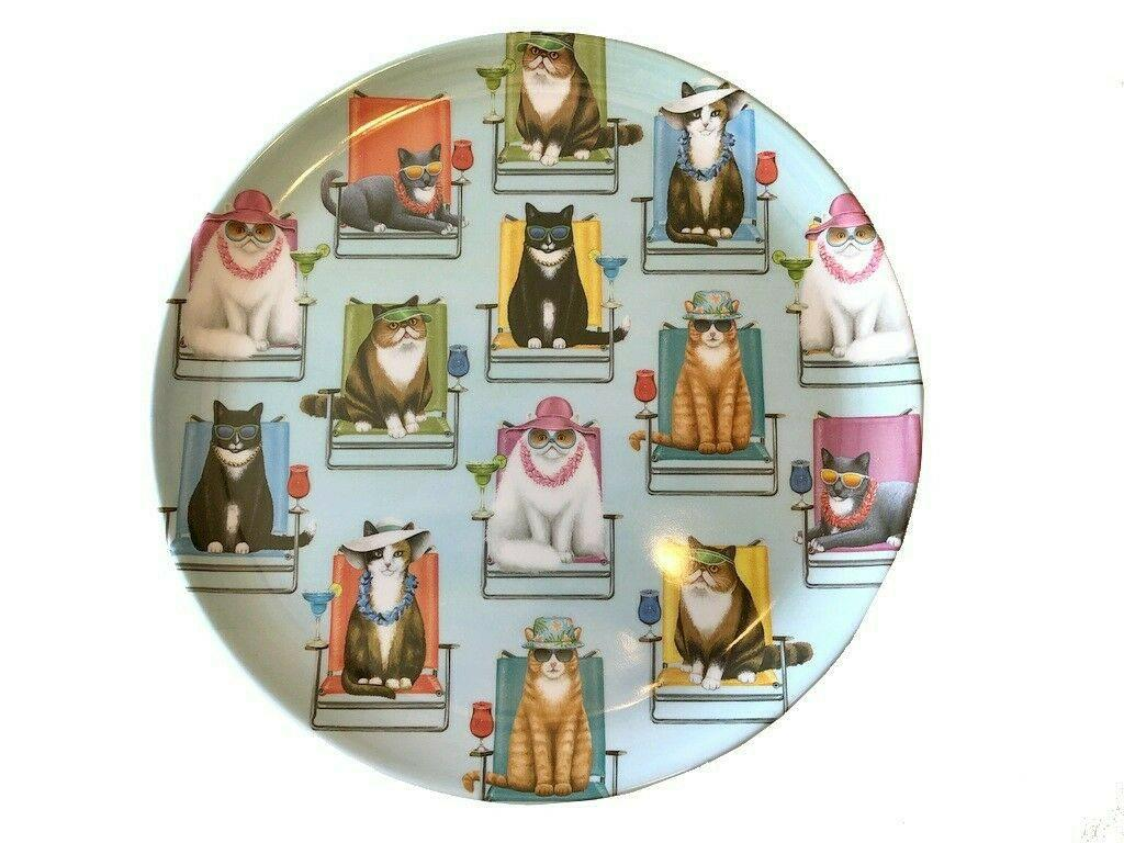 Melamine Dinner Plates Cats Set of Pattern VW