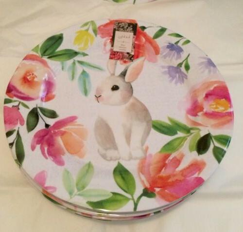Nicole Miller Dinner Plates Bunny Rabbits Floral NEW