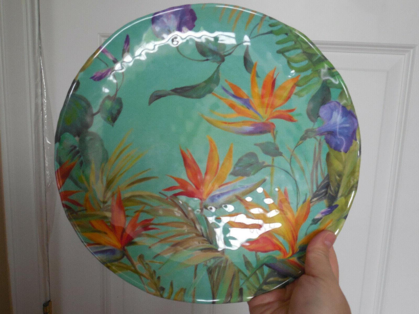 NWT 4 Fifth Calabria Birds Teal Floral Plates