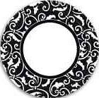 "Ornamental Scroll Black Wedding Floral Garden Party 9"" Paper"