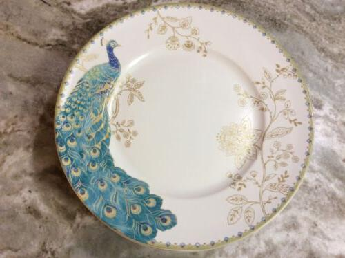 222 Fifth Peacock Dinner Plates. Set Of 4. New.