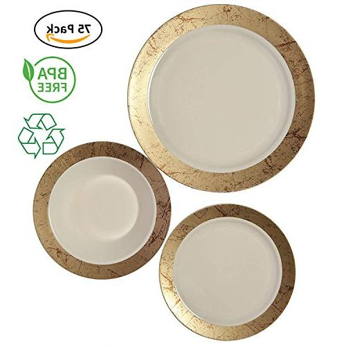plastic dinnerware set marble collection