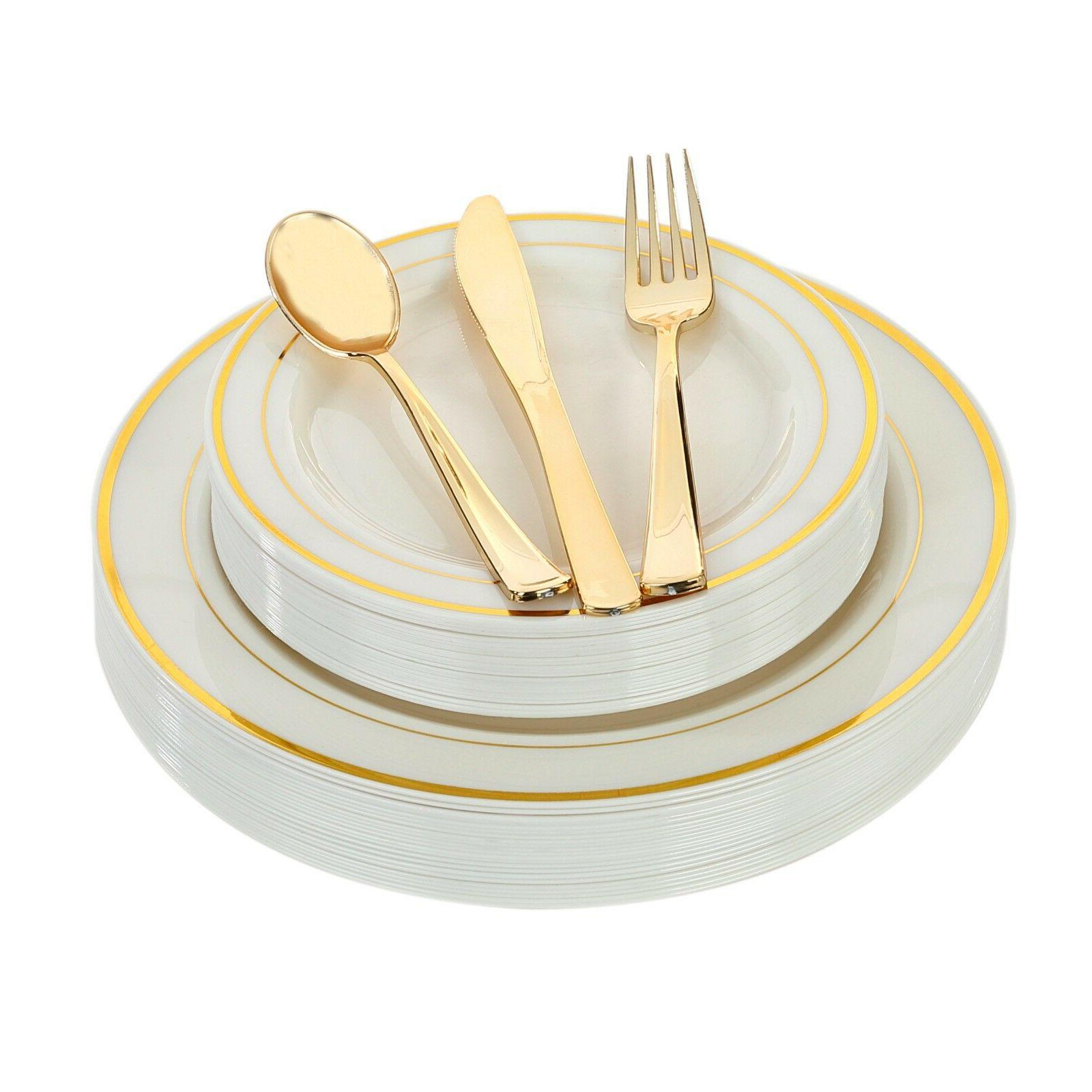 Plastic Disposable Plates Dinner Wedding Silve/Gold Occasion