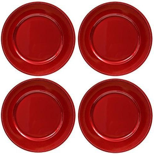plate chargers red beaded rim