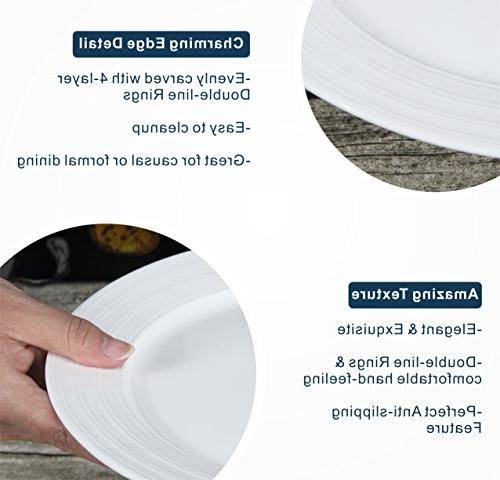 Lifver Porcelain Dinner with Ring Round&Natural White, 6