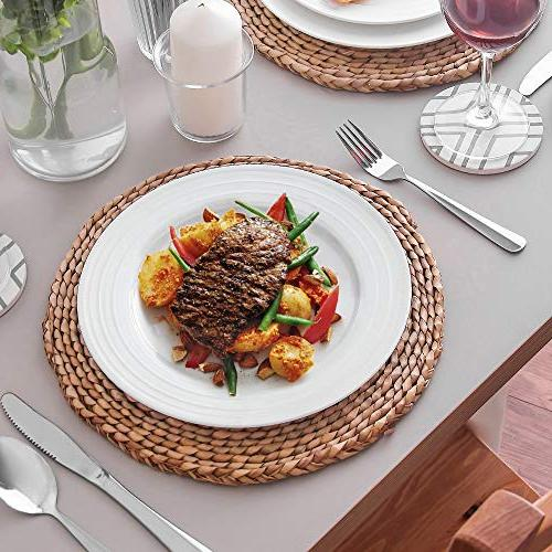 Lifver 10130 FBA_COMINHKPR123807 10-inch Porcelain Dinner Plates/Serving Platters with Embossed Round&Natural of 6